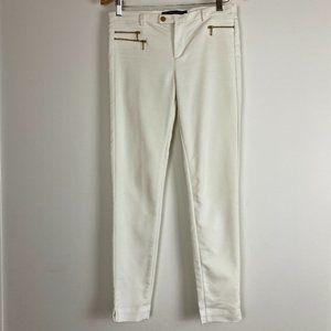 Zara Womens White Mid Rise Slim Capri Pant Size 10